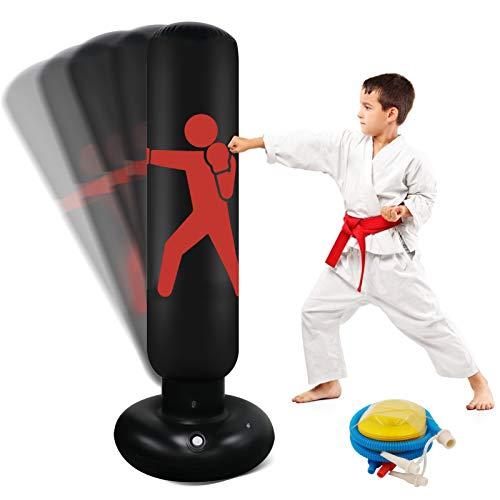 Aufblasbarer Boxsack Für Kinder 63 Zoll Freistehender Fitness Zielständer Tower Tasche Hochleistungs-Becher Säule Säcksack Für Box Karate Training Für Jugendliche Erwachsene Indoor Outdoor (Red)