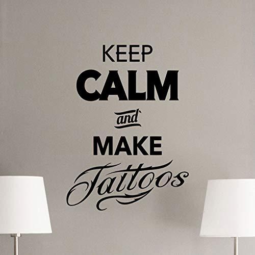 Keep Calm, Tattoo Tatuajes de pared Tienda de tatuajes Logotipo Salón Diseño del cartel Ventana Vinilo Etiqueta Mural Regalo Decoración Arte de la pared Café 57x69cm