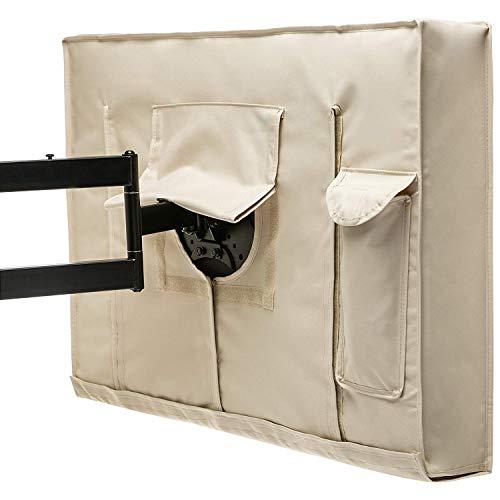 Huante TV Cover 30-32 pulgadas beige resistente a las inclemencias meteorológicas protección universal para pantallas de TV LCD, LED, al Plasma. Construido en tapa inferior y almacenamiento remoto