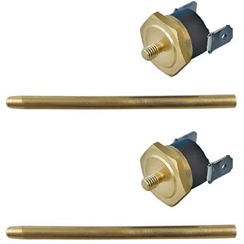 American Volt Electric Fan Push-in Radiator Fin Brass Probe Thermostat Temperature Switch Sensor Kit (2-Pack, 190'F On - 175'F Off)