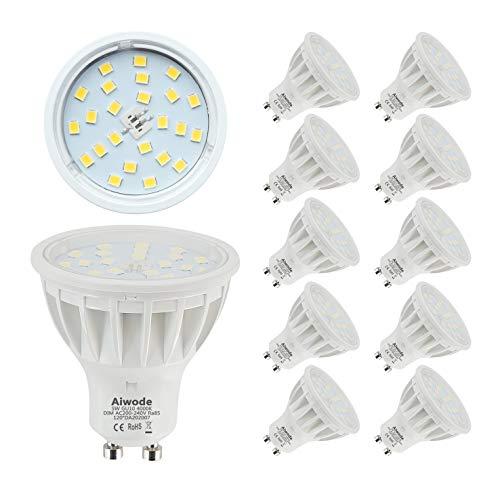 Aiwode Dimmbar LED GU10 Lampen Scheinwerfer,Naturweiß 4000K,5W Ersetz 50W,120°Abstrahlwinkel RA85 600LM,10er Pack.