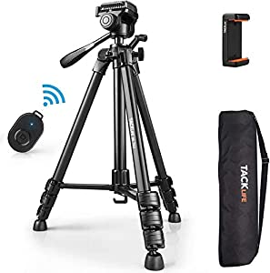 Tripod with Wireless Bluetooth Remote, 60-Inch Aluminum Camera/Phone/Travel Tripod, Max Load of 11 Lbs, 360 Degree Swivel, Universal Smartphone Mount, 1/4 Inch Screw Mount, Portable Bag - MLT02