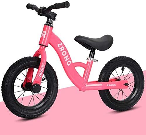 JIAO Bicicleta De Ejercicios para Principiantes para Niños Al Aire Libre, Bicicleta De Ejercicio Sin Pedal, Asiento Ajustable, Scooter para Niños Y Niñas De 2 A 6 Años, Marco Liviano(Color:Rosa)