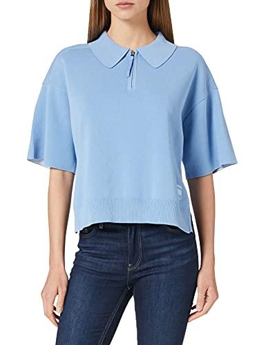 G-STAR RAW Knitted Zip Polo Chaleco de Sudadera, Delta Blue/Milk C707-c356, M para Mujer