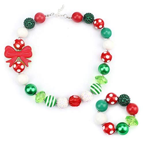Shefii Ensemble de bijoux pour fille avec collier et bracelet en perles arc-en-ciel