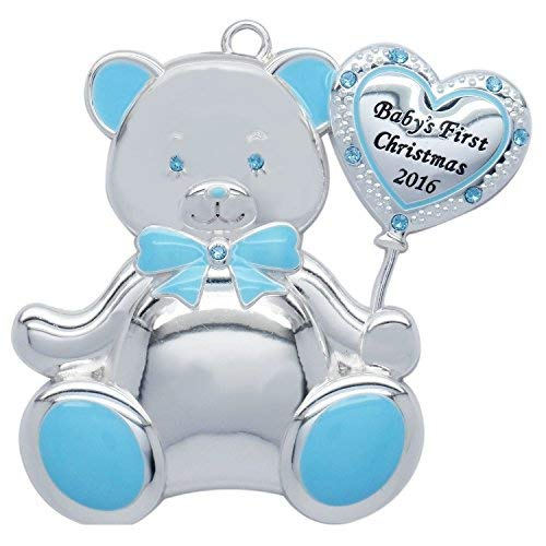 Baby Boy Teddy Bear 2016 Baby's First Christmas (Engravable) Harvey Lewis Silver-plated Ornament - Made with 10 Swarovski Elements