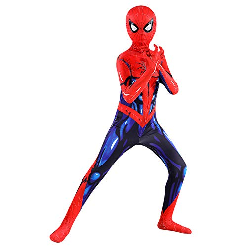 FSMJY Muskel Spiderman Cosplay Kostüm Bodysuit Unisex Erwachsene Kinder Spandex/Lycra 3D-Druck Kostüm Jumpsuit Für Halloween Karneval,Spiderman-100~110cm