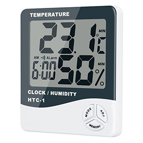 HotTime デジタル温湿度計〔新型〕大画面 温度&湿度表示 温度計/湿度計/目覚まし時計/アラーム 温度 測定器 置き掛け両方可 熱中症 インフル うるおい …