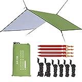 Esup 10 x 10 ft Hammock Rain Fly Lightweight Windproof Tent Tarp, 210T Ripstop Nylon Material, Camping, Hiking Essential Gear, (Green)