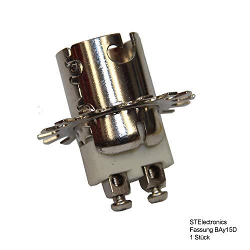 1 xFassung BAY15D - Sockel für BAY-15D Lampen 12V 24 Volt für Lampe - Positionslampe mit Bajonettverschluss mit starker Feder & Schraubbefestigung Ø 30mm Bohrung für Schraube - Fassung BAY 15-D