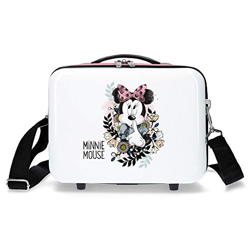 Disney Minnie Style Nececer Adaptable, Flores, Blanco, 29 x 21 x 15 cms, ABS