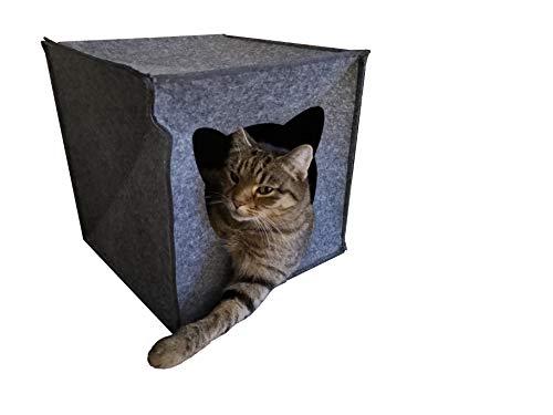 AVEELO Katzenhöhle aus Filz - mit herausnehmbaren Kissen 33 x 33 x 33 cm Katzenhaus Filzhöhle für Katzen in Grau passend für Kallax und Expedit von IKEA