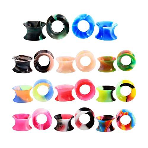 Fenteer 11 Paar Ohrtunnel Plugs Silikon Tunnel Set Ohrhörer Sattel Ohr Tunnel Ohrhörer Set Piercing Schmuck - Mehrfarbig 10mm