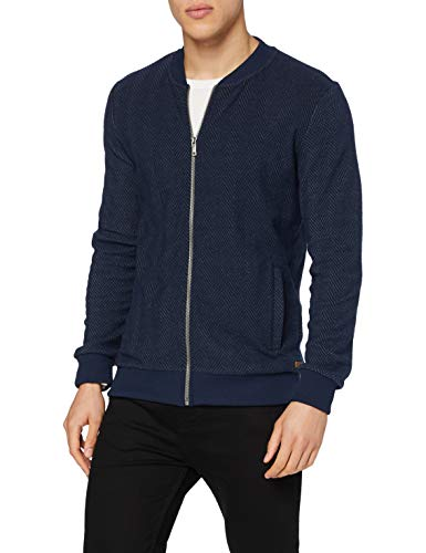 Lee Cooper Recycled Herringbone Bomber Maglione Cardigan, Navy, S Regular  Uomo