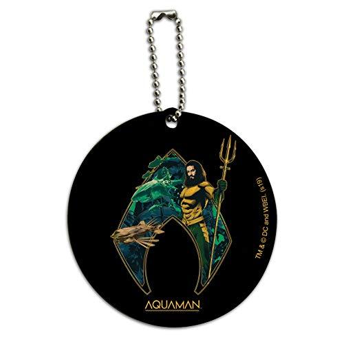 Aquaman Movie Atlantis Logo Round Wood Luggage Card Suitcase Carry-On ID Tag