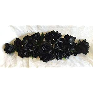Black 2 ft Artificial Roses Swag Silk Flowers Wedding Arch Table Runner Centerpiece, for Wedding Supplies
