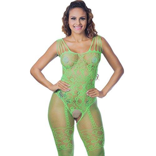 Damen Nachtwäsche Goosunn Spitzenkleid Bodysuit Reizvolle Offene Strapsstrümpf Offener Schritt Extreme Versuchung Lang Strümpfe zstrumpfhose (Grün, One Size)