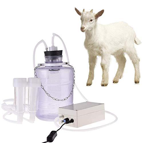 ZHHB 3L Ziegen-Schaf-Melkmaschine, Pulsator in Der Pumpe Enthalten, Tragbare Elektrische Milchpumpe Mit 2 Zitzenbechern Und Milcheimer, Für Den Heimgebrauch in Kleinem Maßstab