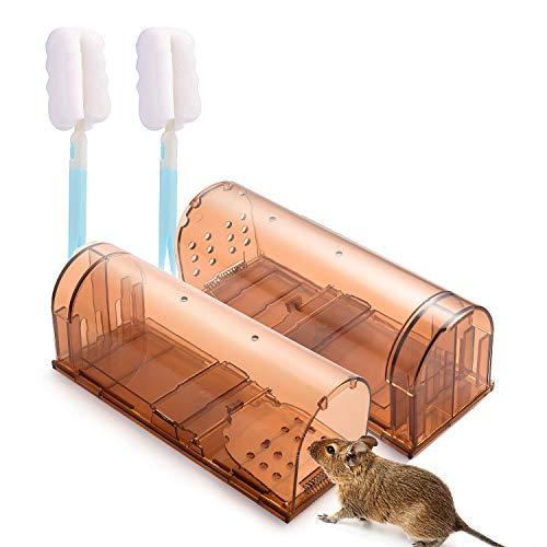 Preisvergleich Produktbild Herefun 2er Set Mausefalle lebend,  Wiederverwendbare Lebendfalle Mäuse mit Luftlöcher,  Lebendfalle Rattenfalle Tierfreundliche für Küche Garten Garage (20 x 6.8 x 8 cm)