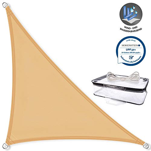 CelinaSun Sonnensegel PES Dreieck rechtwinklig 4,6x4,6x6,5m Sand beige UPF 50+ Sonnenschutz inkl Befestigungsseile