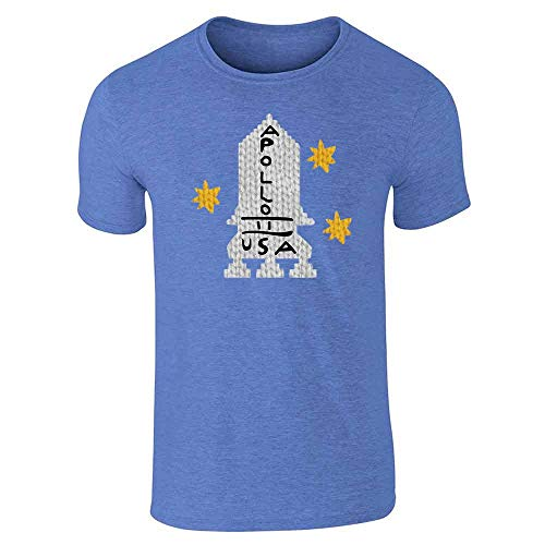Apollo 11 Retro Knit Sweater Style Costume Heather Royal Blue L Graphic Tee T-Shirt for Men