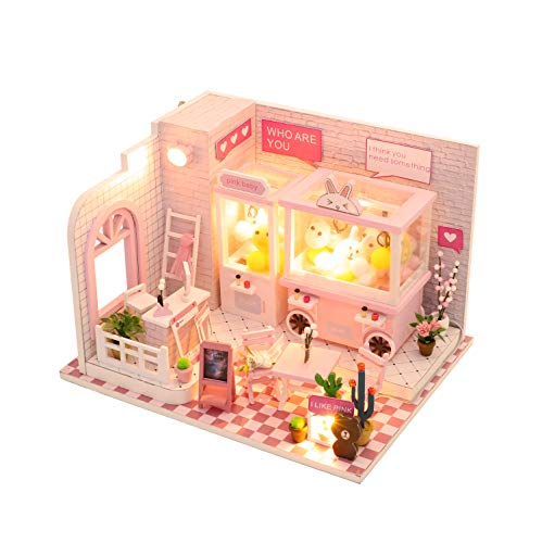 Cool Beans Boutique Miniature Wooden Dollhouse DIY Kit Pink Claw Machine Shop with Dust Cover - C009