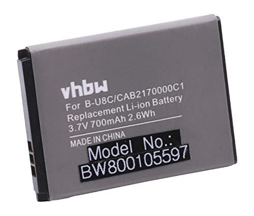 vhbw Li-Ion batteria 700mAh (3.7V) per cellulari e smartphone Alcatel One Touch 706, 706A, F150, F250, OT-103, OT-103A come B-U8C, OT-BY10, OT-BY20.