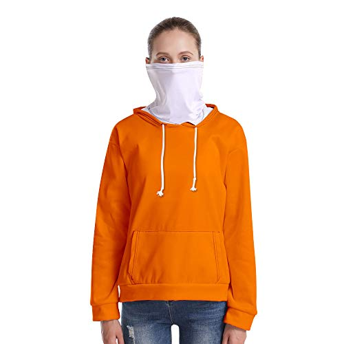 T-Shirt À Manches Longues,Casual Long Sleeve Lâche Solide Orange Vif Unisex Pull À Cordon Tops Chemisier Chemise avec Écharpe Hommes Hommes Automne Hiver Pullover Sweatshirt, XS