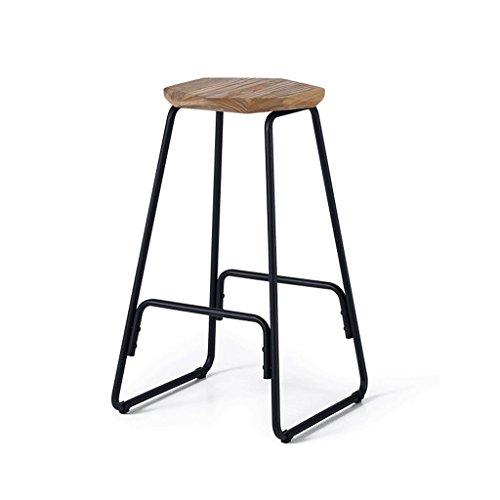 RXL Chaise en fer forgé Chaise en bois massif Tabouret haut Tabouret rétro Tabouret chaise de bar