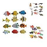 lahomia 36 Figuras de Animales Doradas de Plástico, Regalo de Fiesta para Niños, Juguetes de Decoración para Acuarios