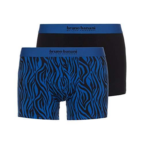 bruno banani Herren Short 2er Pack Season Greetings Boxershorts, Mehrfarbig (Schwarz//Blau/Schwarz Zeba Print 3053), Large (Herstellergröße: L)