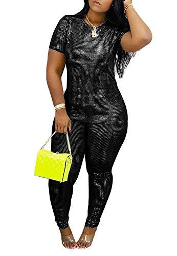 Two Piece Outfits for Women Round Neck Sweatshirt + Skinny Long Leggings Sparkle Sexy Clubwear Plus Size Black