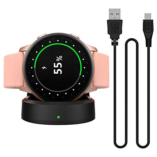 MoKo Base de Carga Compatible con Samsung Galaxy Watch Active/Active 2 40mm 44mm, Portátil y Magnético Cargador de Repueto de Carga Rápida, Adaptador de Reemplazo - Negro