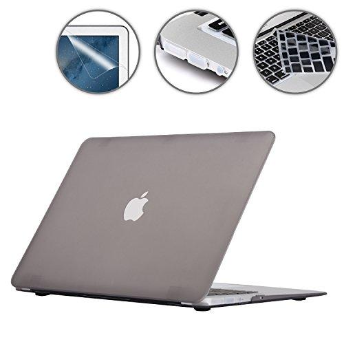 i-Buy Gummierte Harte Schutzhülle Hülle Kompatibel für MacBook Air 13 Zoll (Modell A1369 A1466) 2010-2017 Freisetzung + Silikon Tastaturschutz + Schutzfolie + Anti-Staub-Stecker - Grau