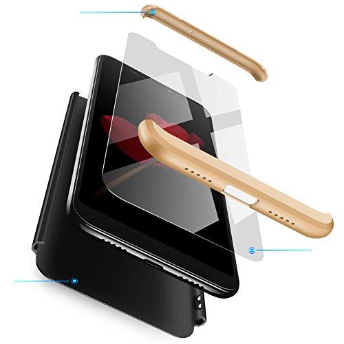sigua Funda Compatible Samsung S6 Edge, 3 in 1 Slim Fit Protectora Cover Caso Carcasa Choque Resistente 360 Grados Protección Ultra Slim Cubierta PC Hard Case + Cristal Templado,Oro & Negro