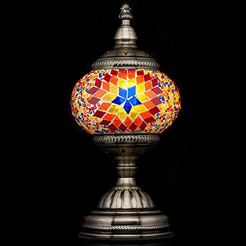 Mosaic Lamp-Handmade Turkish Mosaic Table Lamp with Mosaic Lantern,Bronze Base,Unique Table Lamp for Room Decoration