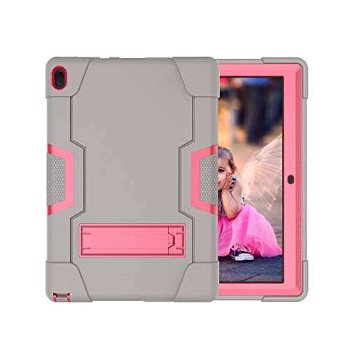 Koolbei Case for Lenovo Tab E10 (TB-X104F), Heavy-Duty Drop-Proof and Shock-Resistant Rugged Hybrid case(with Built-in Stand), for Lenovo Tablet 2018 Tab E 10 10.1 Inch Case (Grey/Rose red)
