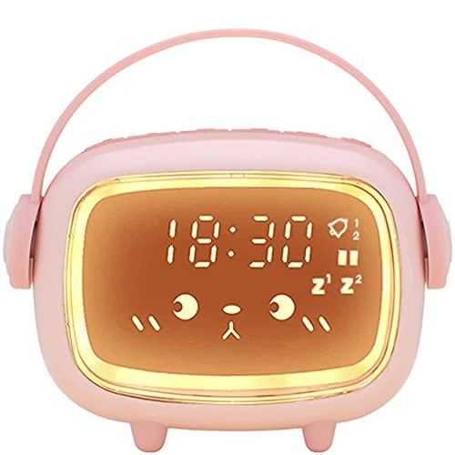 Despertador Digital Infantil, Relojes Despertador con Luz de Noche para Niños y Niñas, Silenciosa Cabecera Lindo Emoji Despertador Infantil (Rosa)