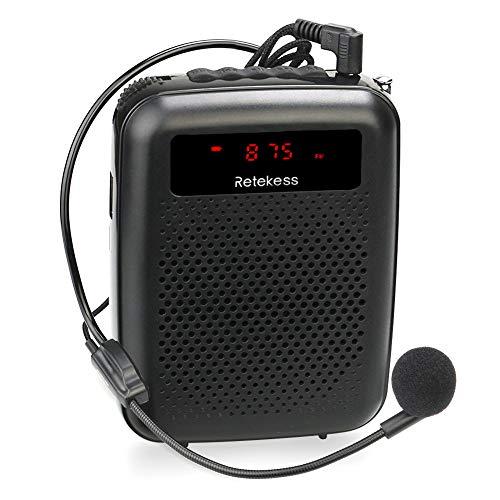 Retekess PR16R Amplificador de Voz Portátil (12W) con Micrófono FM Radio MP3 Reproductor Grabación para Guias Turisticos, Discurso, Póngase en Fila, Promoción de supermercado (Negro)