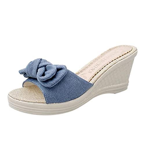 Pantofole con Plateau Girasole, Scarpe Aperte, comode Pantofole con Plateau Girasole, Eleganti Sandali a Fiori in Pelle PU (10B-Blue,38)