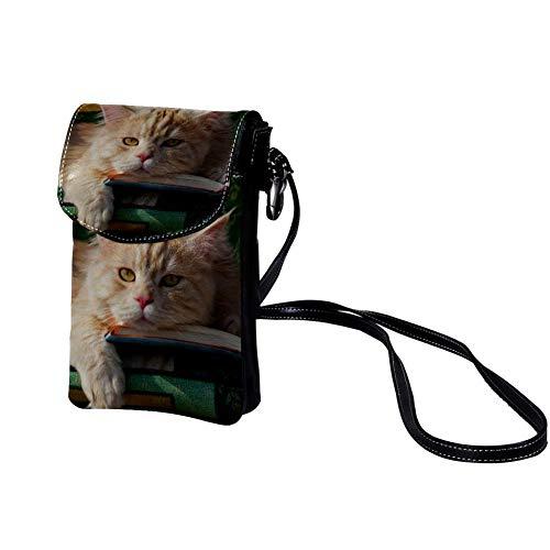 Haminaya Mujer Bolso para teléfono móvil Gato acostado Bolso bandolera Monedero Mini Bolso de cuero ligero para teléfono móvil 19x12x2cm