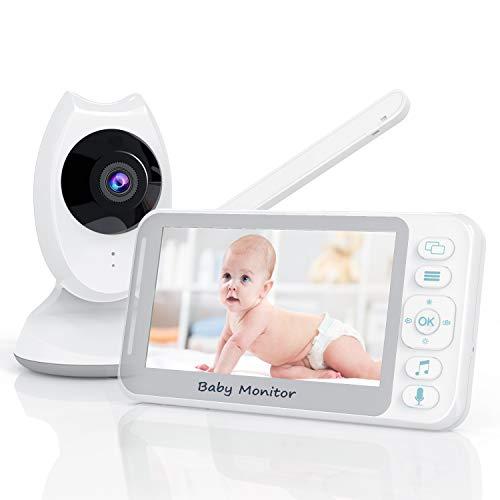 Babyphone mit Kamera, 4.3 Zoll Babyfon Video Baby Monitor mit Gegensprechfunktion,Temperaturüberwachung, Nachtsicht, Schlaflieder und Lange Batterielebensdauer für Baby Überwachung