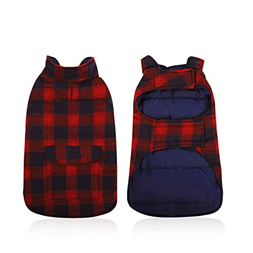 ESOEM Pet Dog Coat Winter Warm Plaid Cozy Dog Jacket Waterproof Windproof Reversible Dog Vest Apparel Cold Weather Outwear with Free Carrot Chew Toys Red 3XL