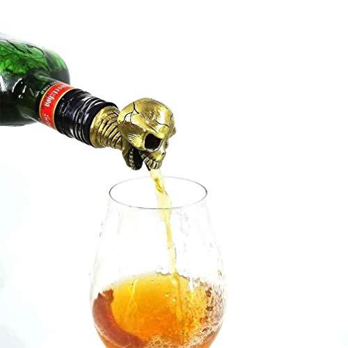 PRETYZOOM Tapón vertedor de vino de aleación de cinc, diseño de calavera