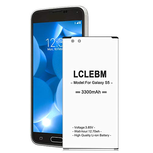 Galaxy S5 Battery | LCLEBM S5 Battery 3300mAh Li-ion Replacement Battery for Samsung Galaxy S5 G900A G900P G900V G900T G900F G900H G900R4 I9600 Galaxy S5 Battery Replacement