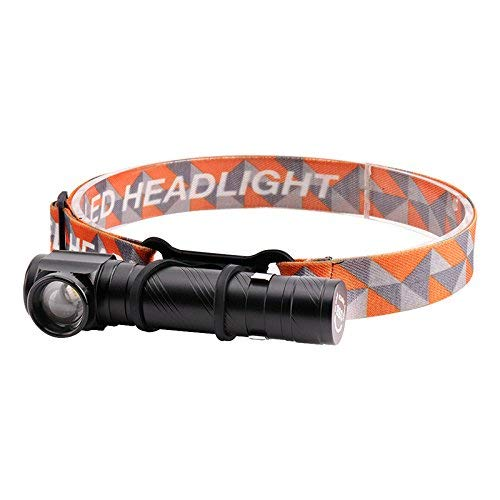 BESTSUN USB Rechargeable Tactical Flashlight, Right Angle Zoomable Super Bright 1800 Lumens Cree LED Headlamp Flashlight with Built-in Battery, Pocket Clip, Magetic Tail