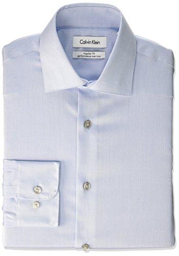 "Calvin Klein Men's Regular Fit Non Iron Herringbone Spread Collar Dress Shirt, Blue, 16.5"" Neck 32""-33"" Sleeve"