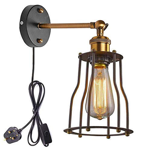 IJzeren lampenkap Retro Industrie Edison antieke kunst wandlamp Ce-certificering plug-in button switch cord fixture lampen wandlamp lamp lamp gcvcxfgdsgsd