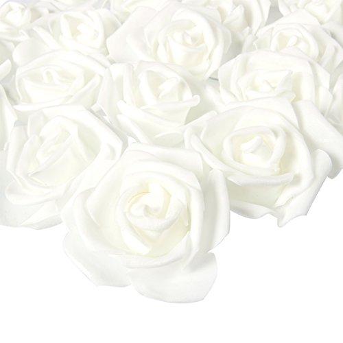 Juvale Künstliche Rosenköpfe, Kunstblumen, Für Hochzeit, Babyparty, zum Basteln, 7,6 x 3,2 x 7,6 cm, Weiß, Polyester, 100 Stück