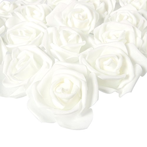 Juvale白玫瑰人工用于工艺品,婚礼,和装饰品(3英寸×1.25,100件组)